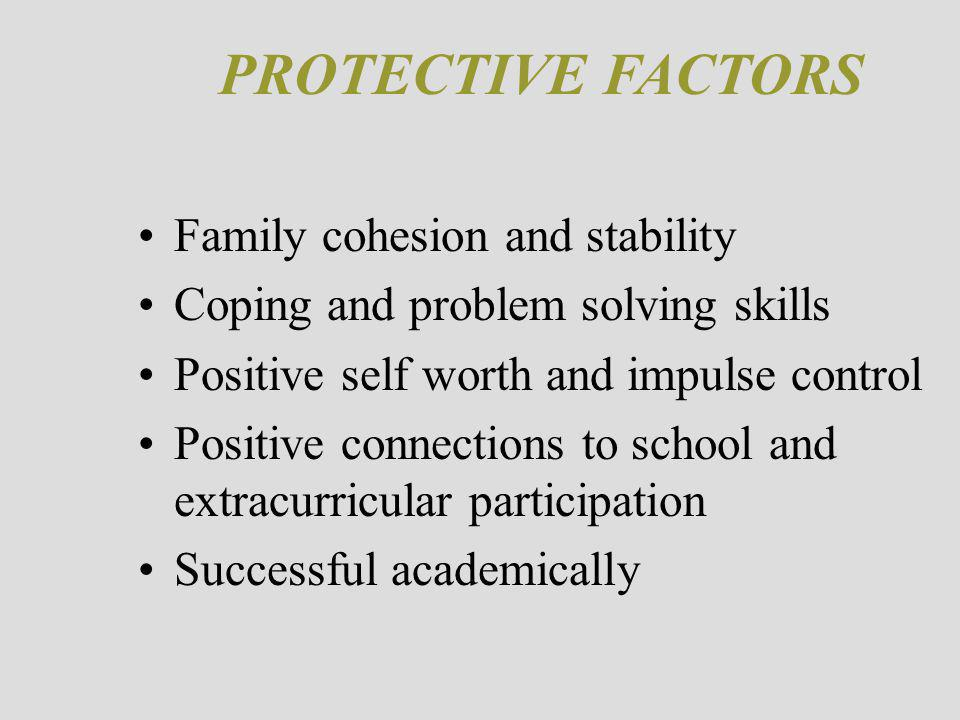 PROTECTIVE FACTORS Family cohesion and stability