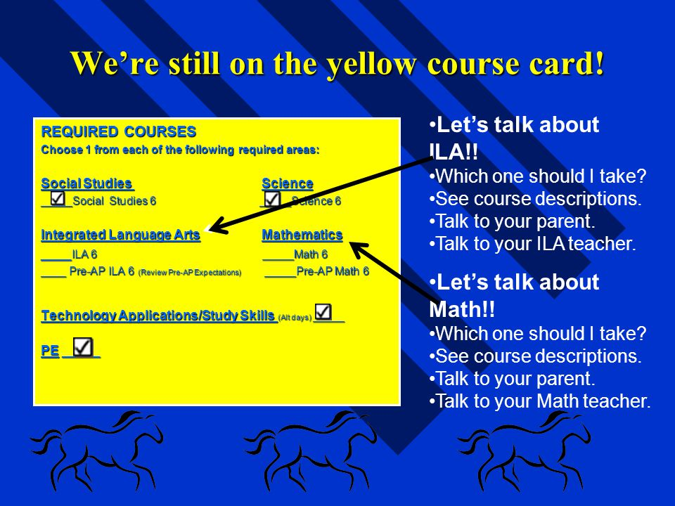 We're still on the yellow course card!