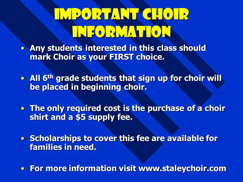 Important choir information
