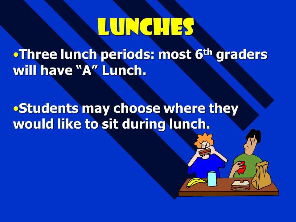 Lunches Three lunch periods: most 6th graders will have A Lunch.