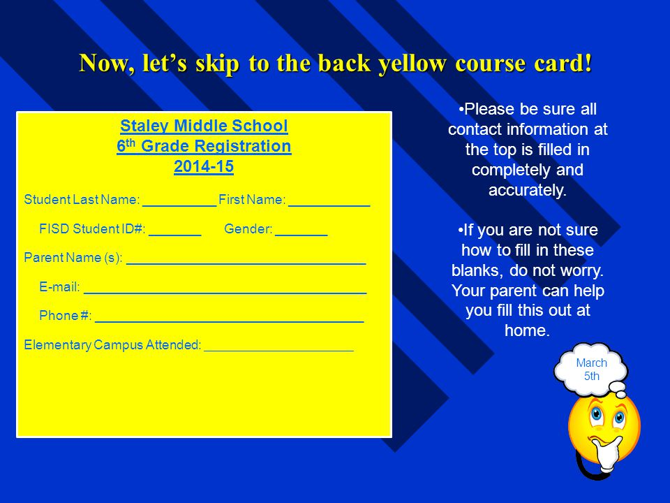 Now, let's skip to the back yellow course card!