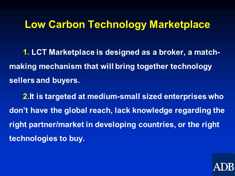 Low Carbon Technology Marketplace