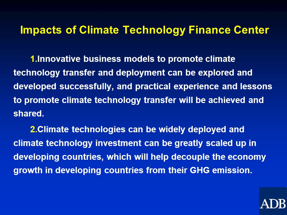Impacts of Climate Technology Finance Center