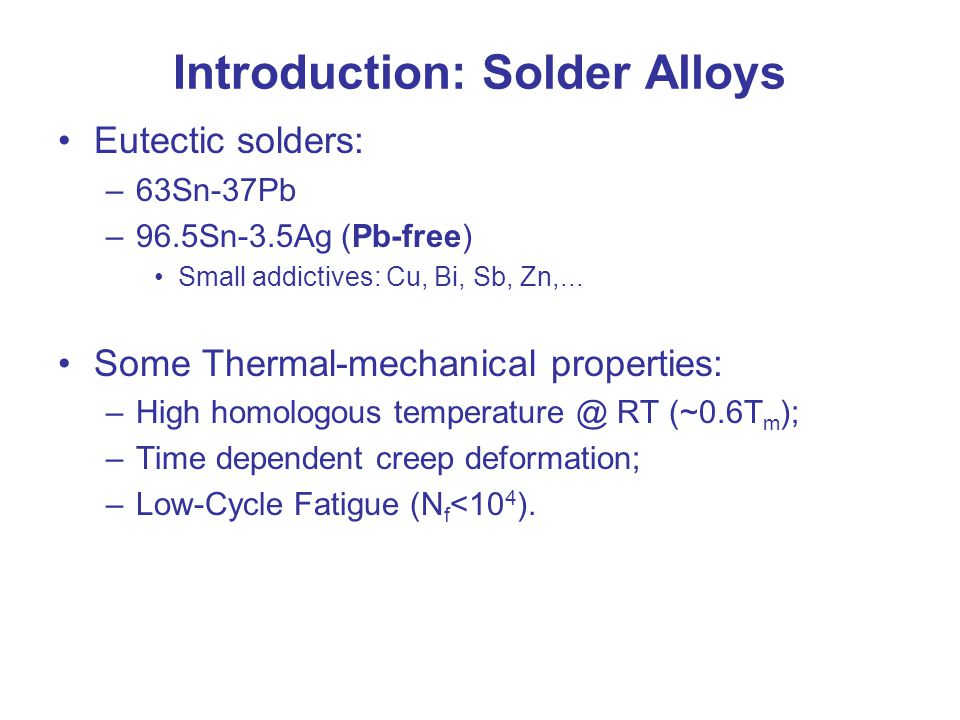Introduction: Solder Alloys