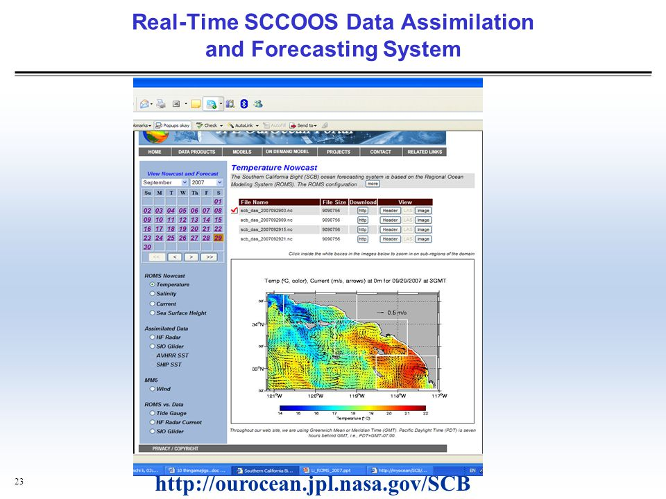 Real-Time SCCOOS Data Assimilation and Forecasting System