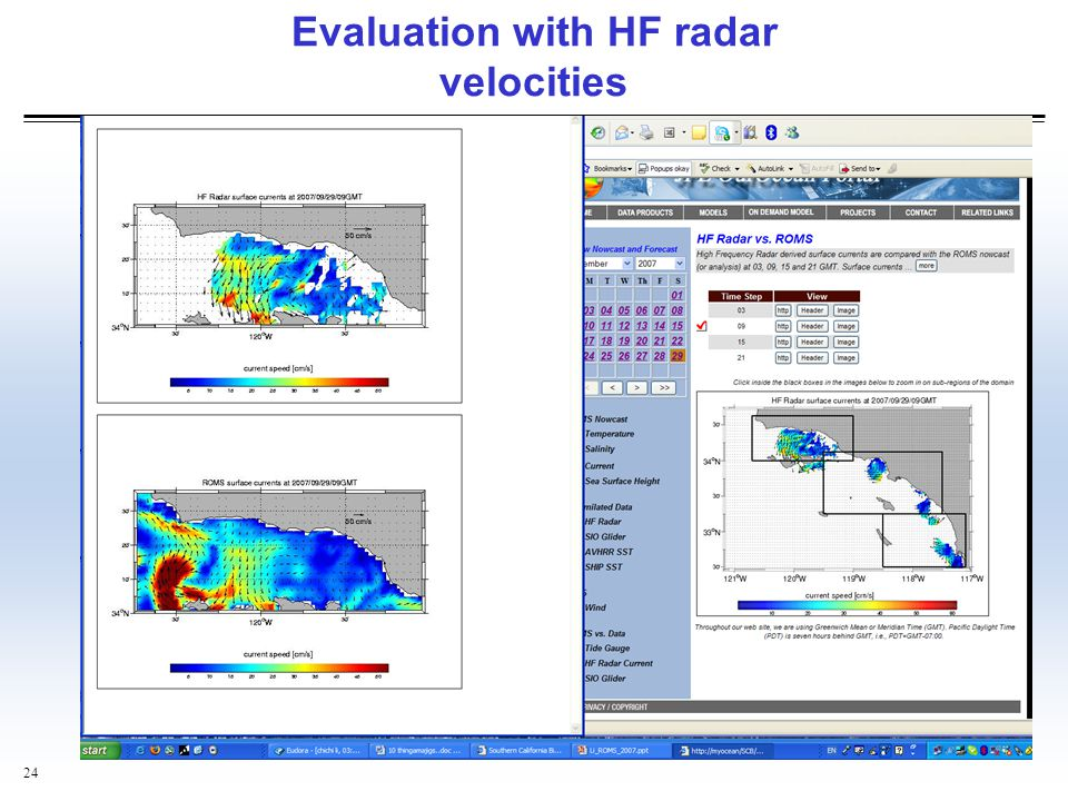 Evaluation with HF radar velocities