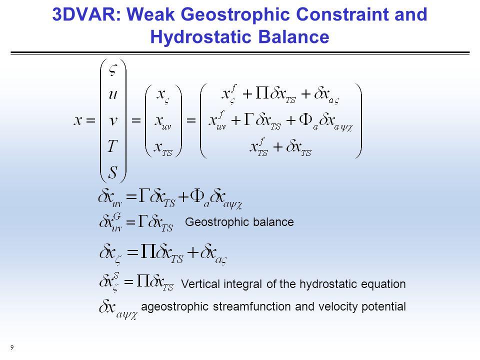 3DVAR: Weak Geostrophic Constraint and Hydrostatic Balance