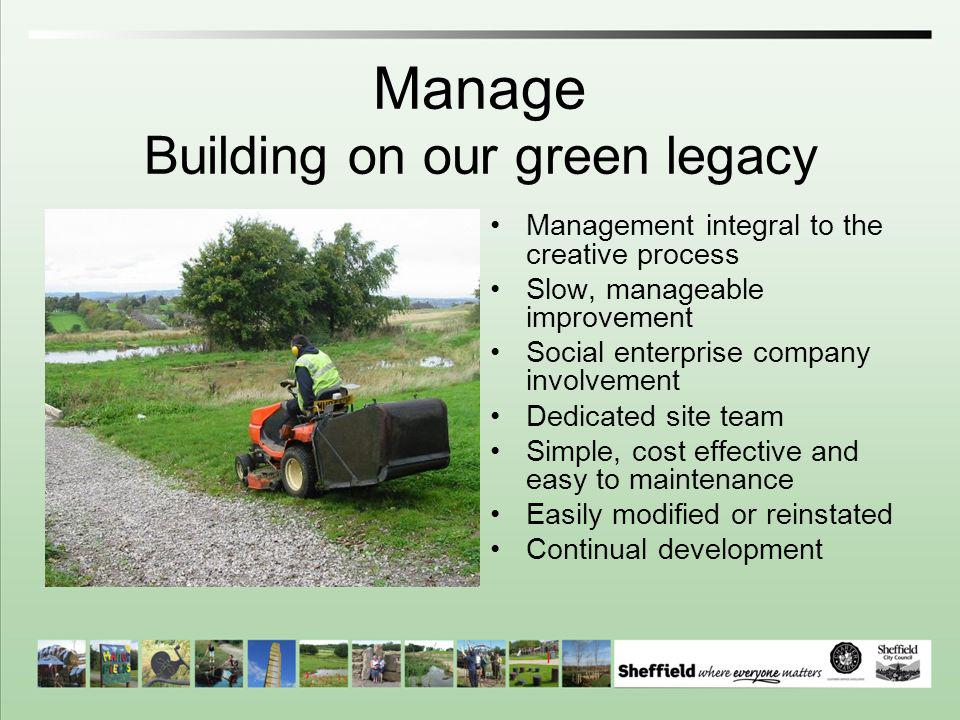 Manage Building on our green legacy