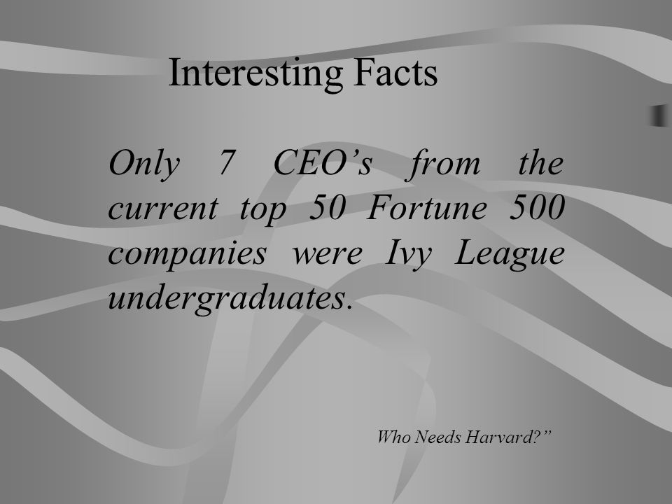Interesting Facts Only 7 CEO's from the current top 50 Fortune 500 companies were Ivy League undergraduates.