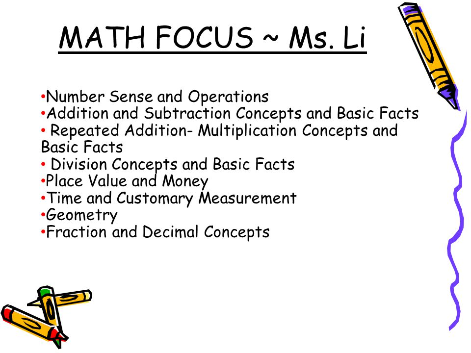 MATH FOCUS ~ Ms. Li Number Sense and Operations