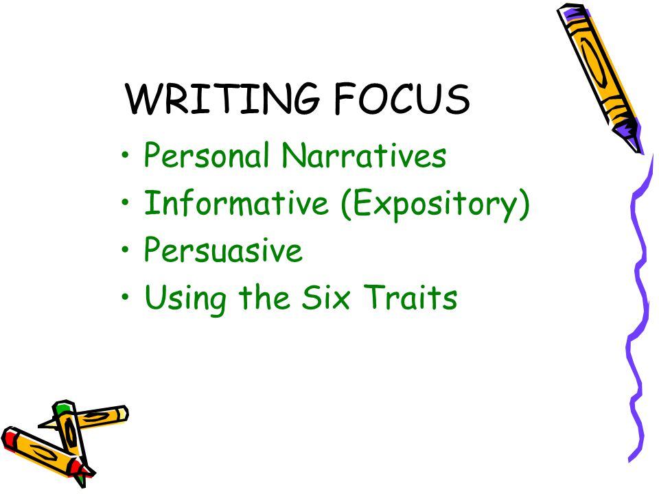WRITING FOCUS Personal Narratives Informative (Expository) Persuasive