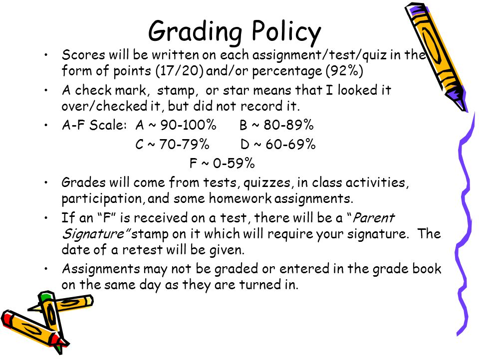Grading Policy Scores will be written on each assignment/test/quiz in the form of points (17/20) and/or percentage (92%)