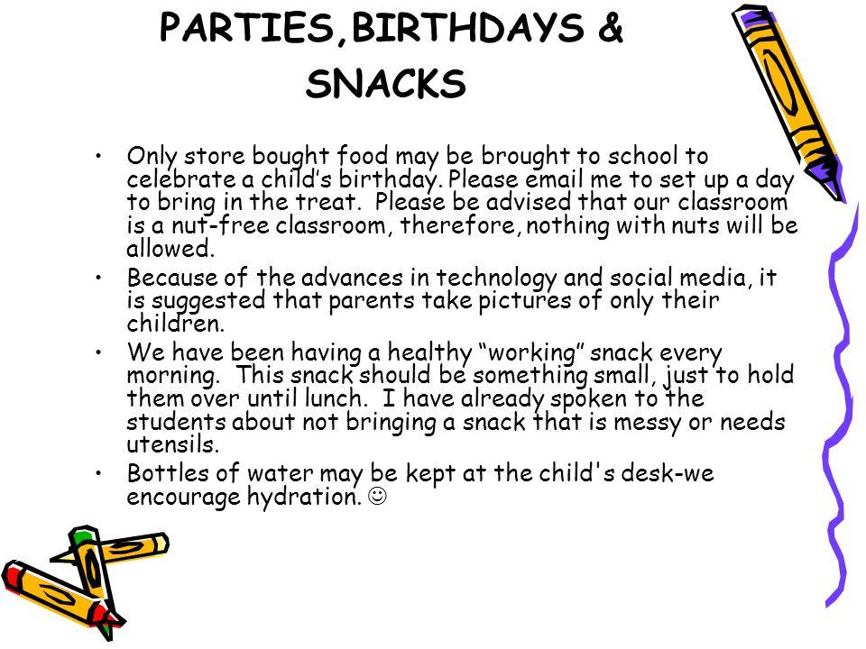 PARTIES,BIRTHDAYS & SNACKS