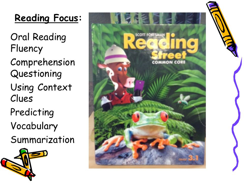 Reading Focus: Oral Reading Fluency. Comprehension Questioning. Using Context Clues. Predicting.