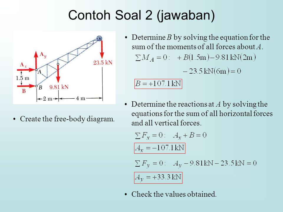 Contoh Soal 2 (jawaban) Determine B by solving the equation for the sum of the moments of all forces about A.