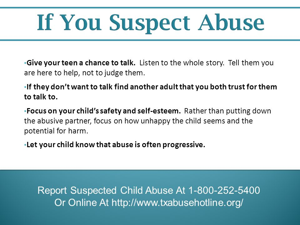 If You Suspect Abuse Report Suspected Child Abuse At 1-800-252-5400