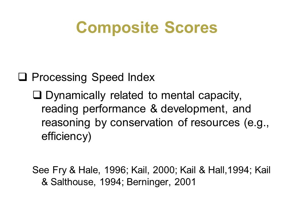 Composite Scores Processing Speed Index
