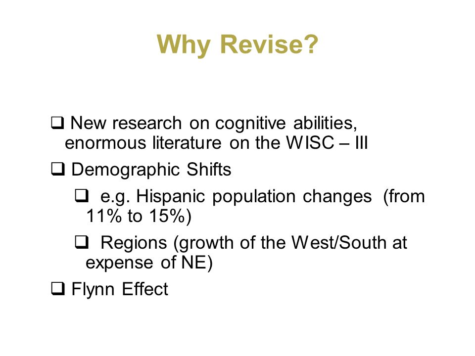 Why Revise Demographic Shifts