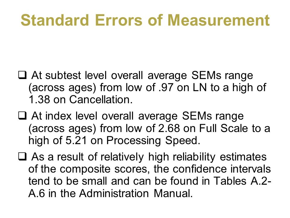 Standard Errors of Measurement