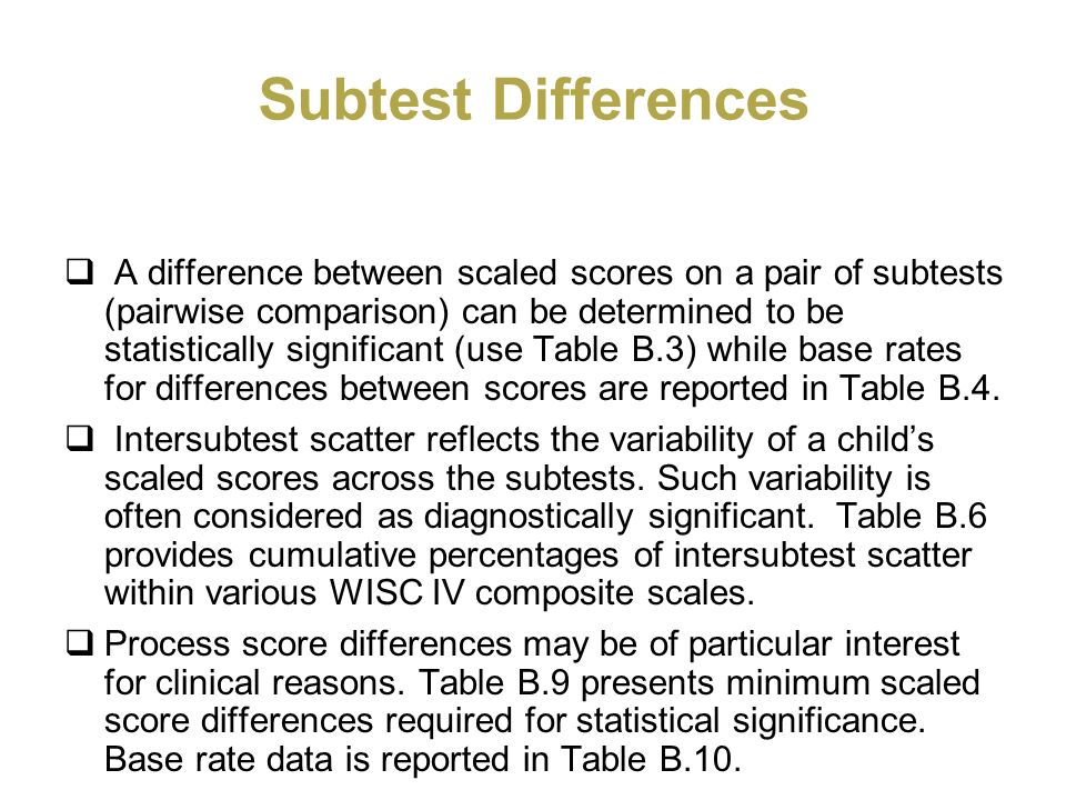 Subtest Differences