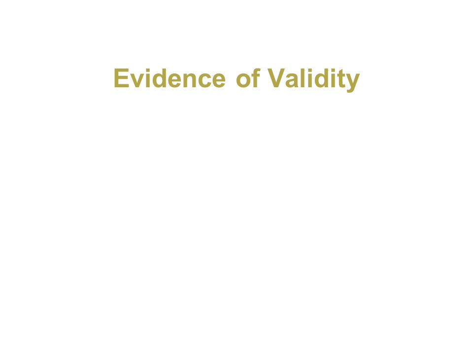 Evidence of Validity