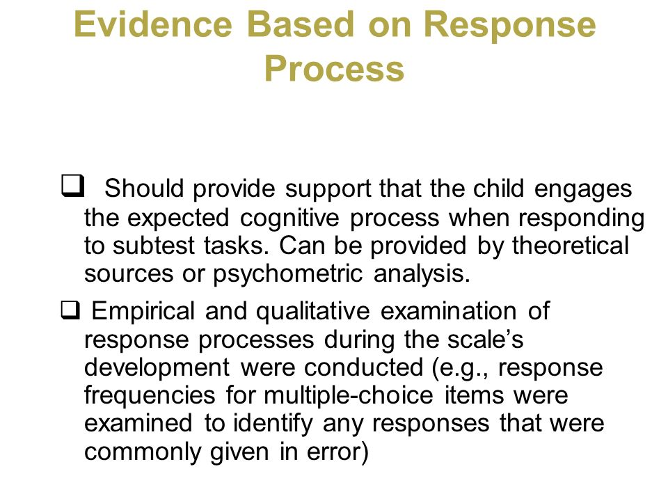 Evidence Based on Response Process