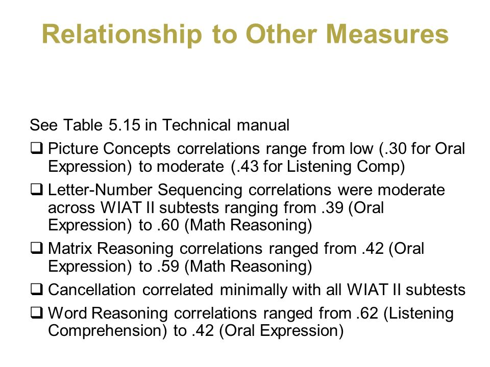 Relationship to Other Measures