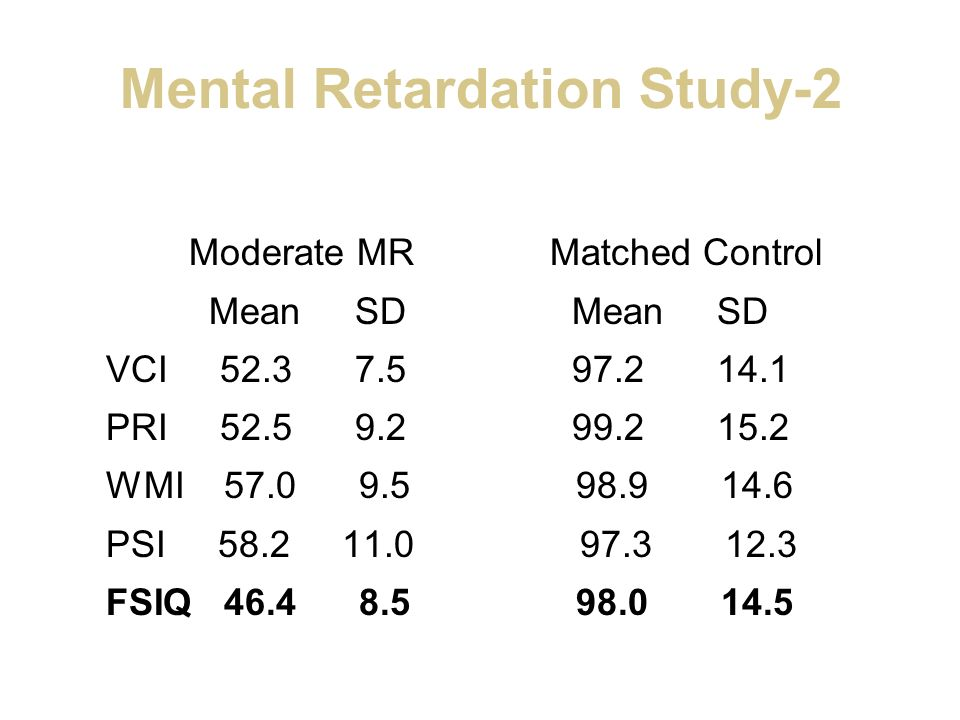 Mental Retardation Study-2