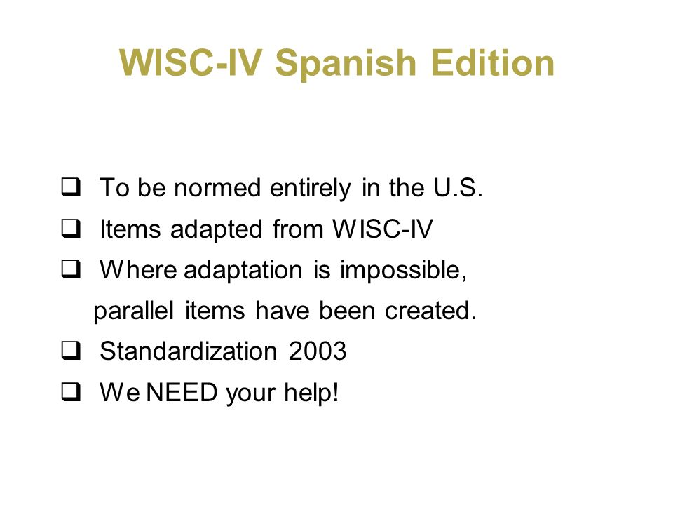 WISC-IV Spanish Edition
