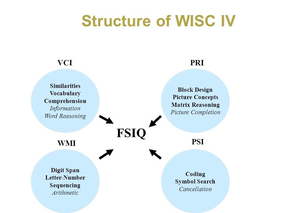 Structure of WISC IV FSIQ VCI PRI WMI PSI Similarities Block Design
