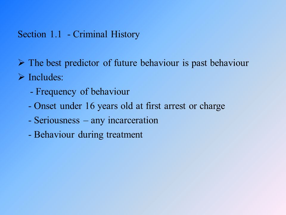 Section 1.1 - Criminal History