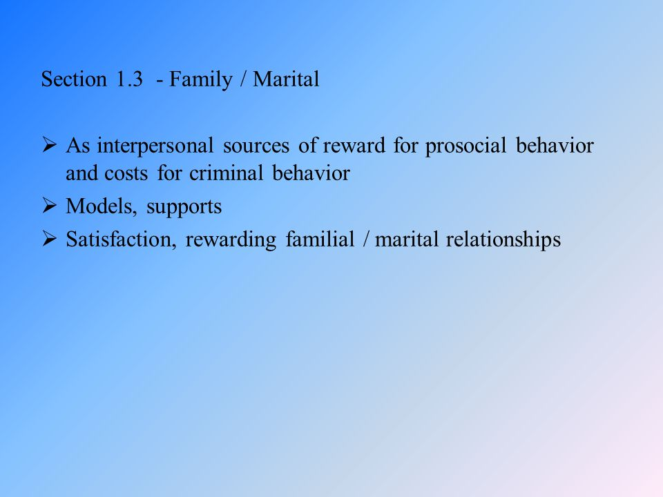 Section 1.3 - Family / Marital