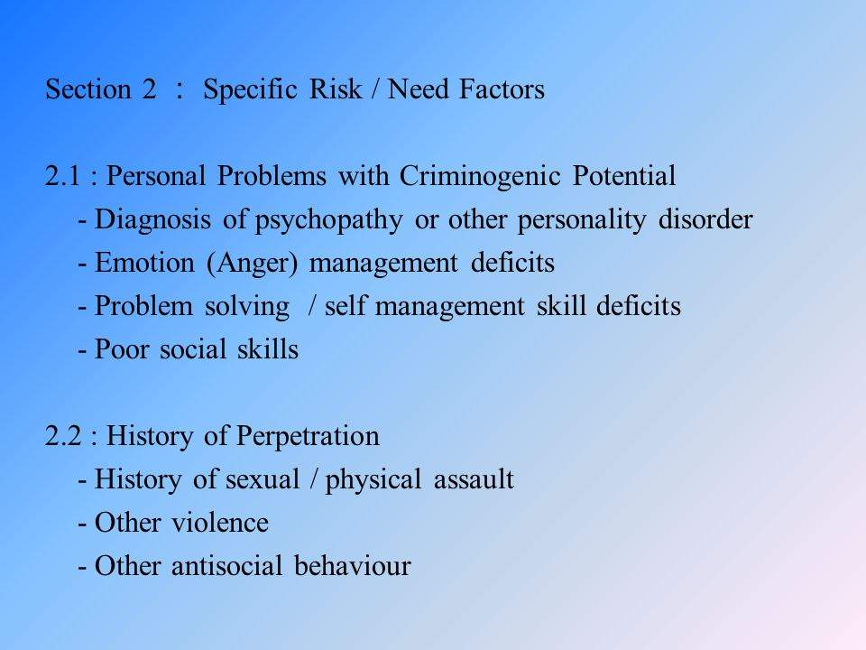 Section 2 : Specific Risk / Need Factors 2