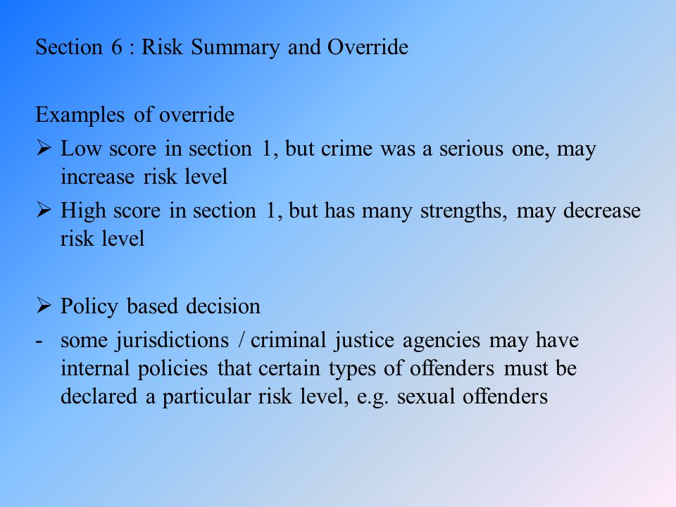 Section 6 : Risk Summary and Override