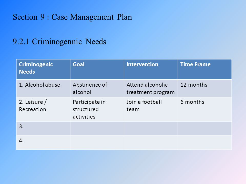 Section 9 : Case Management Plan 9.2.1 Criminogennic Needs