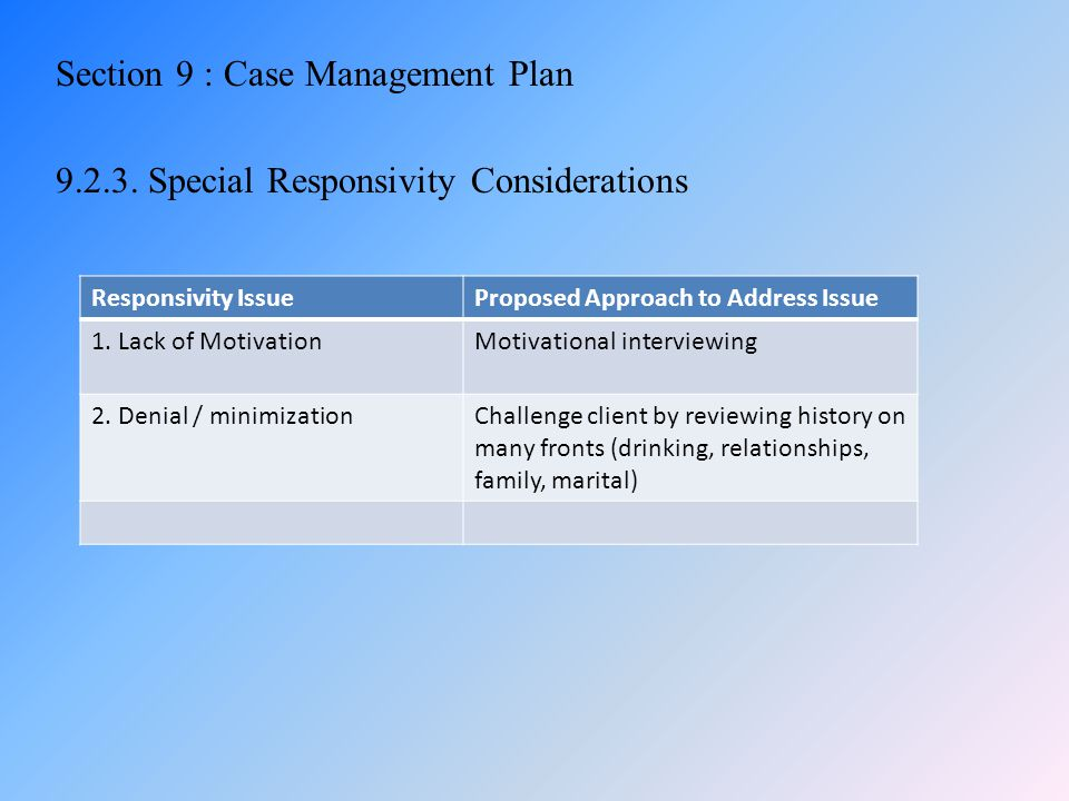 Section 9 : Case Management Plan 9. 2. 3