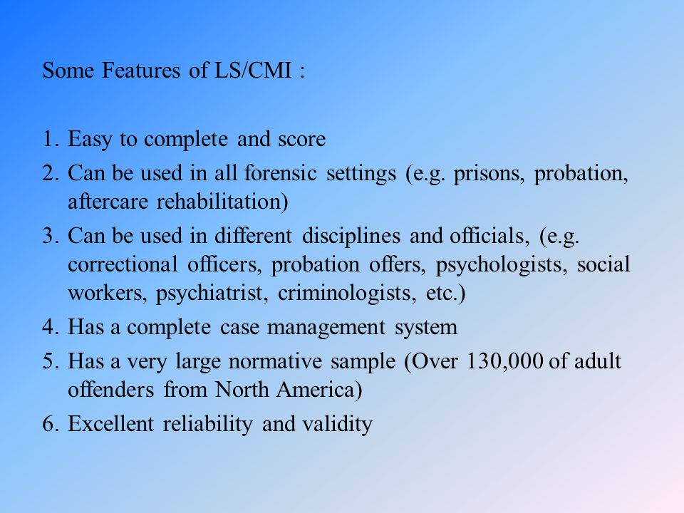 Some Features of LS/CMI :
