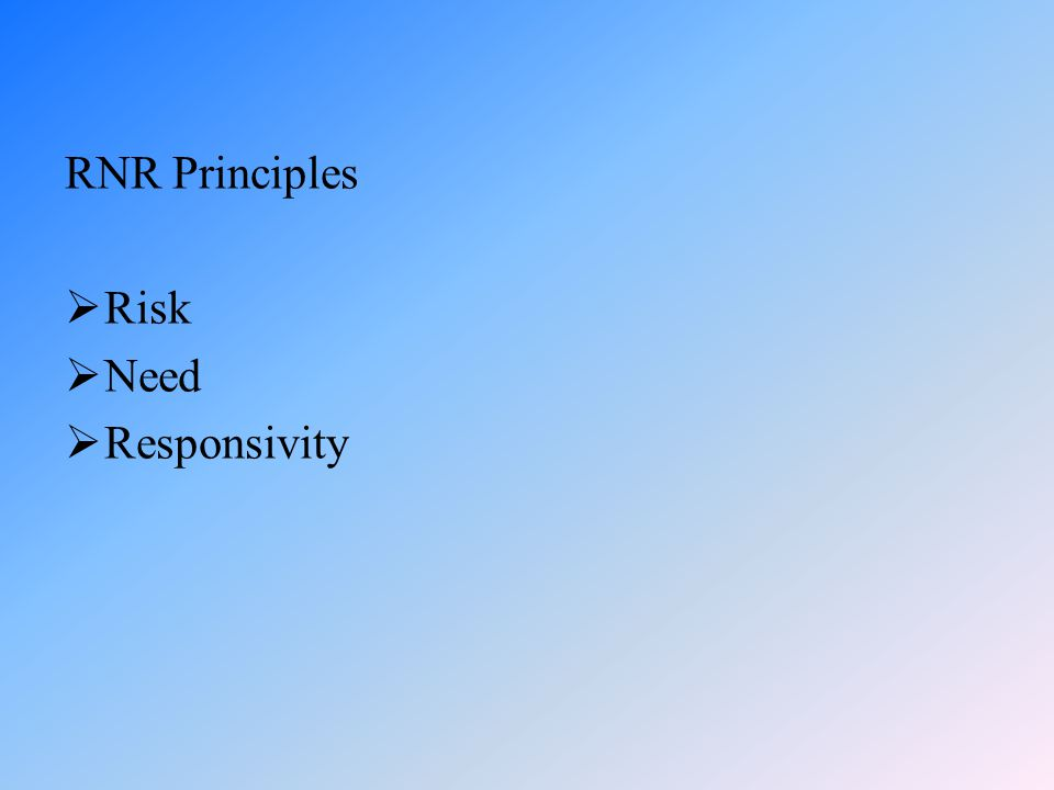 RNR Principles Risk Need Responsivity
