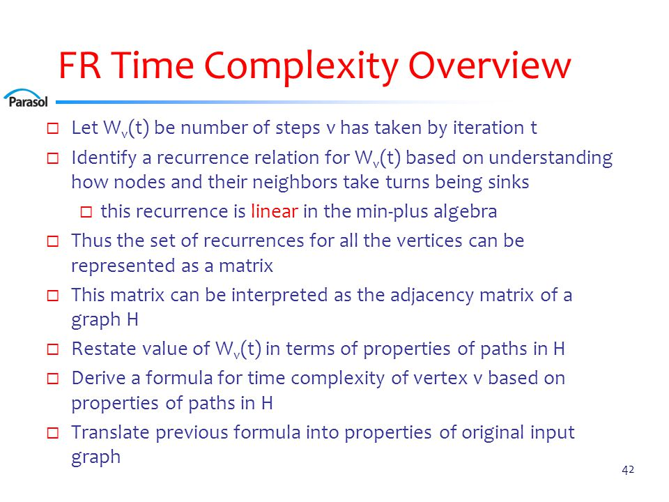 FR Time Complexity Theorem: For every bad vertex v, termination time of v is. 1 + max{len(X): X is chain ending at v with r = σv – 1}