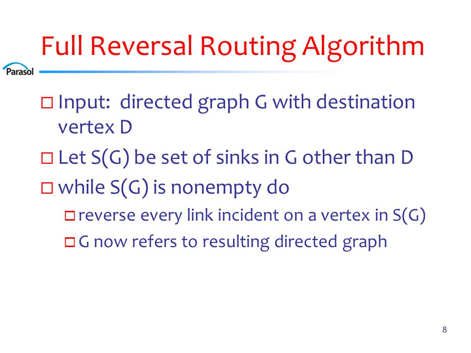 Full Reversal (FR) Routing Example