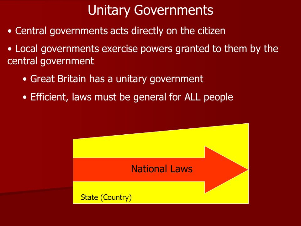 Unitary Governments Central governments acts directly on the citizen