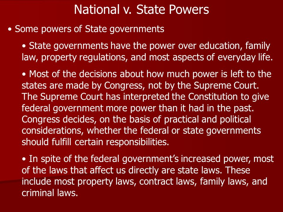 National v. State Powers