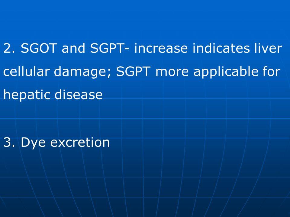 2. SGOT and SGPT- increase indicates liver