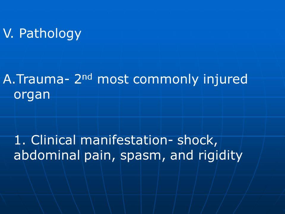 V. Pathology Trauma- 2nd most commonly injured organ.