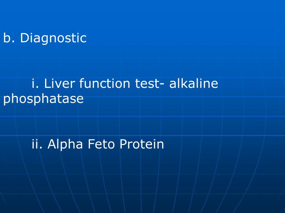 b. Diagnostic i. Liver function test- alkaline phosphatase ii. Alpha Feto Protein