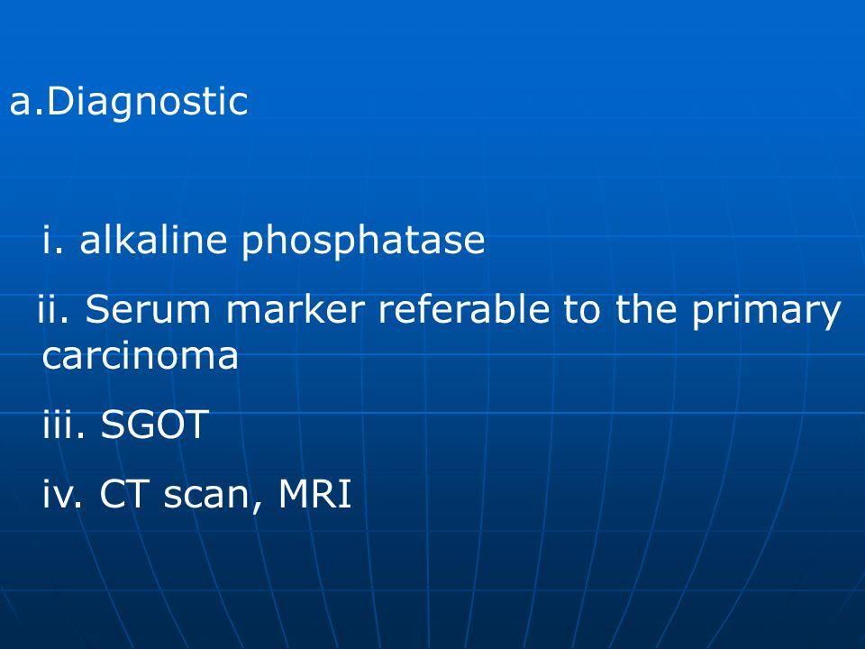 Diagnostic i. alkaline phosphatase. ii. Serum marker referable to the primary carcinoma. iii. SGOT.