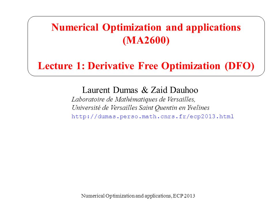 Numerical Optimization and applications (MA2600)