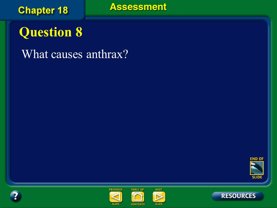 Question 8 What causes anthrax Chapter Assessment
