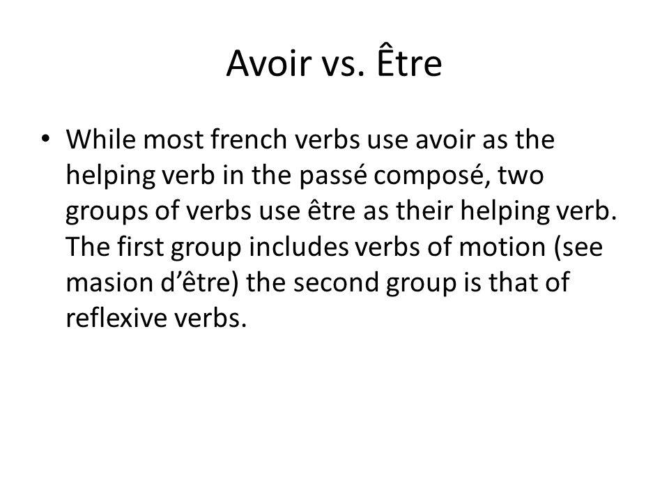 Avoir vs. Être