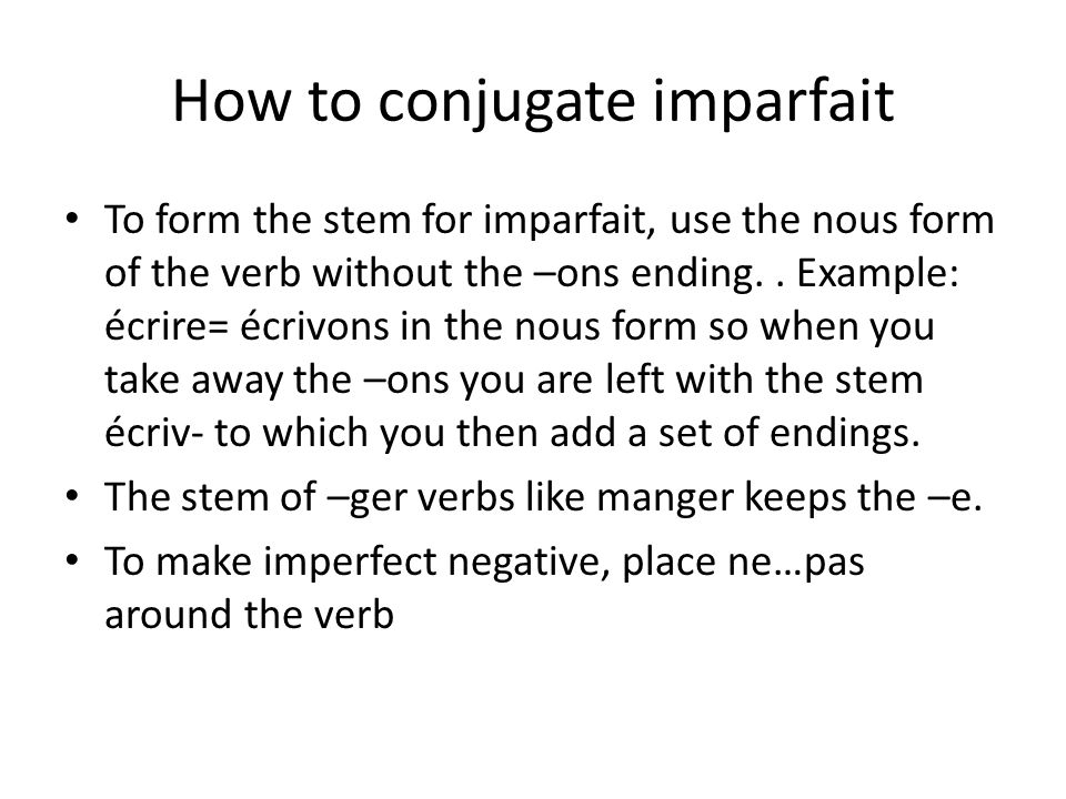 How to conjugate imparfait